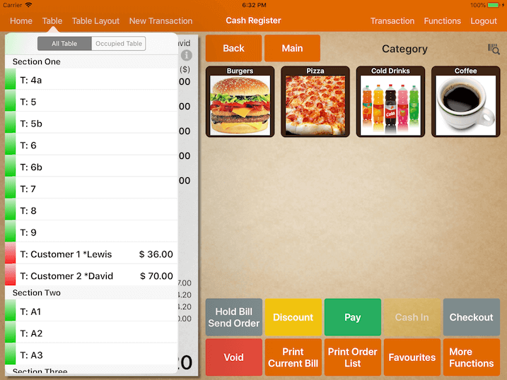 pos                  system customer tab table settings