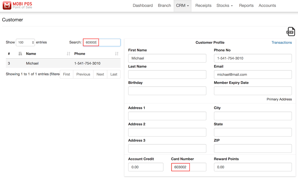 pos system customers search settings