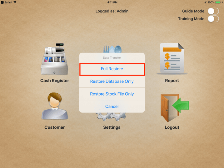 pos system full restore settings