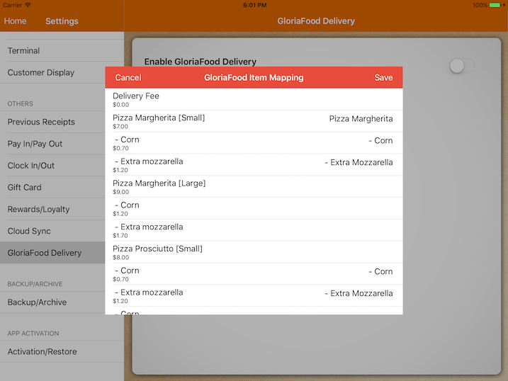 pos system GloriaFood product mapping settings
