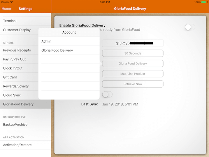 pos system GloriaFood transaction by settings