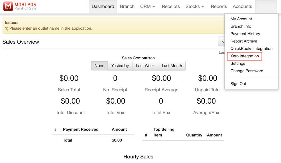 pos system homepage xero integration settings