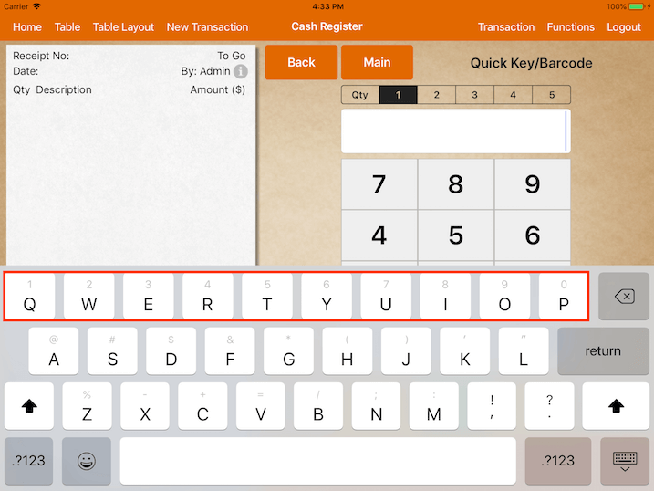 pos system ios 11 keyboard settings