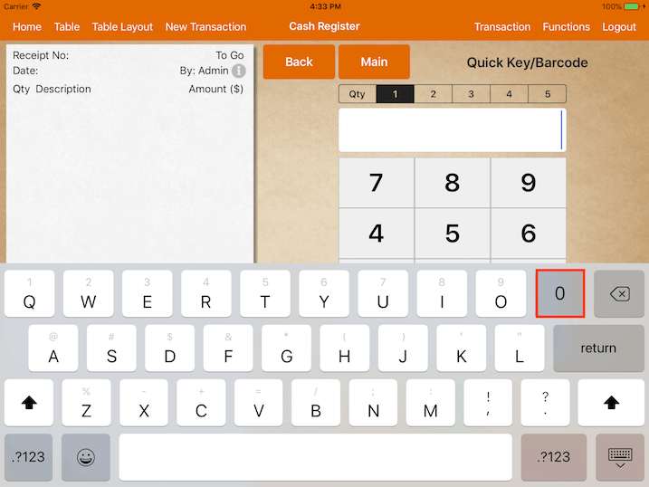 pos system ios 11 swiped keyboard settings
