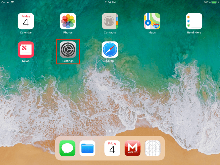 pos system ipad homepage settings icon