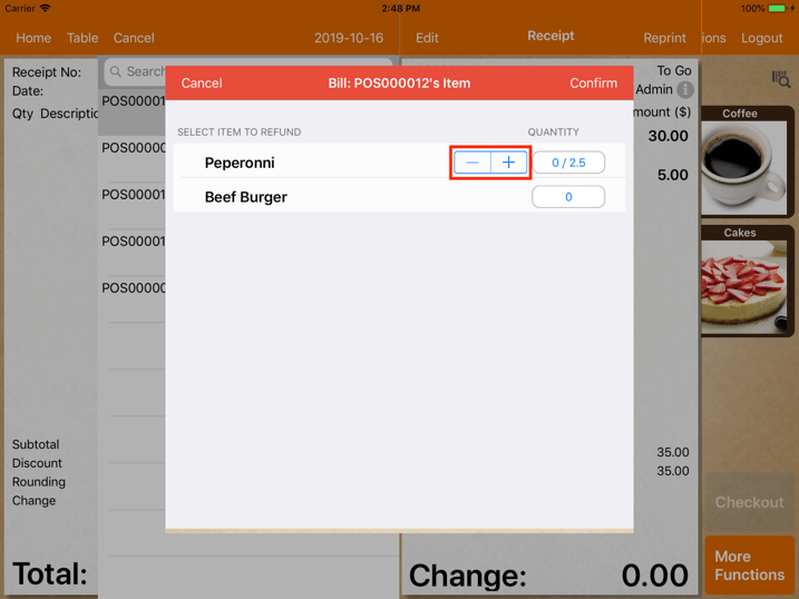 pos system                 sales refund adjust refund quantity settings