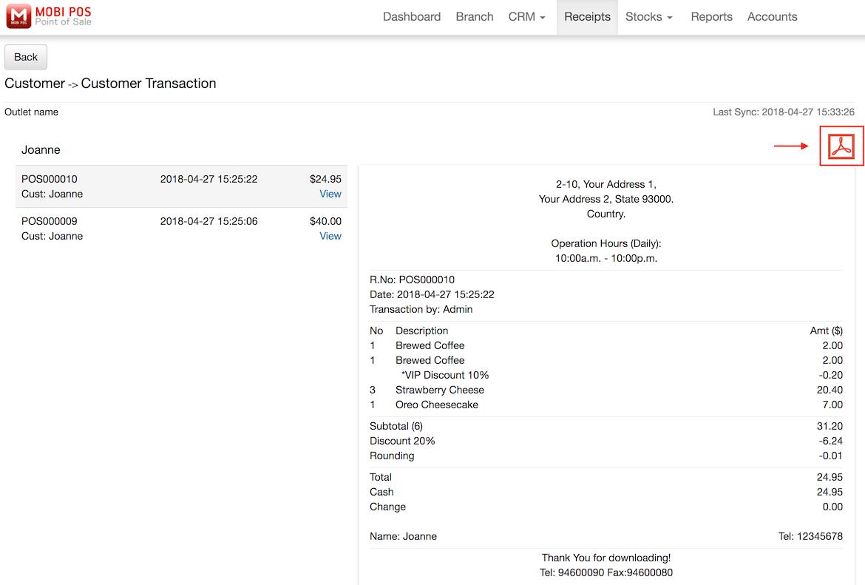 pos system transaction receipt settings