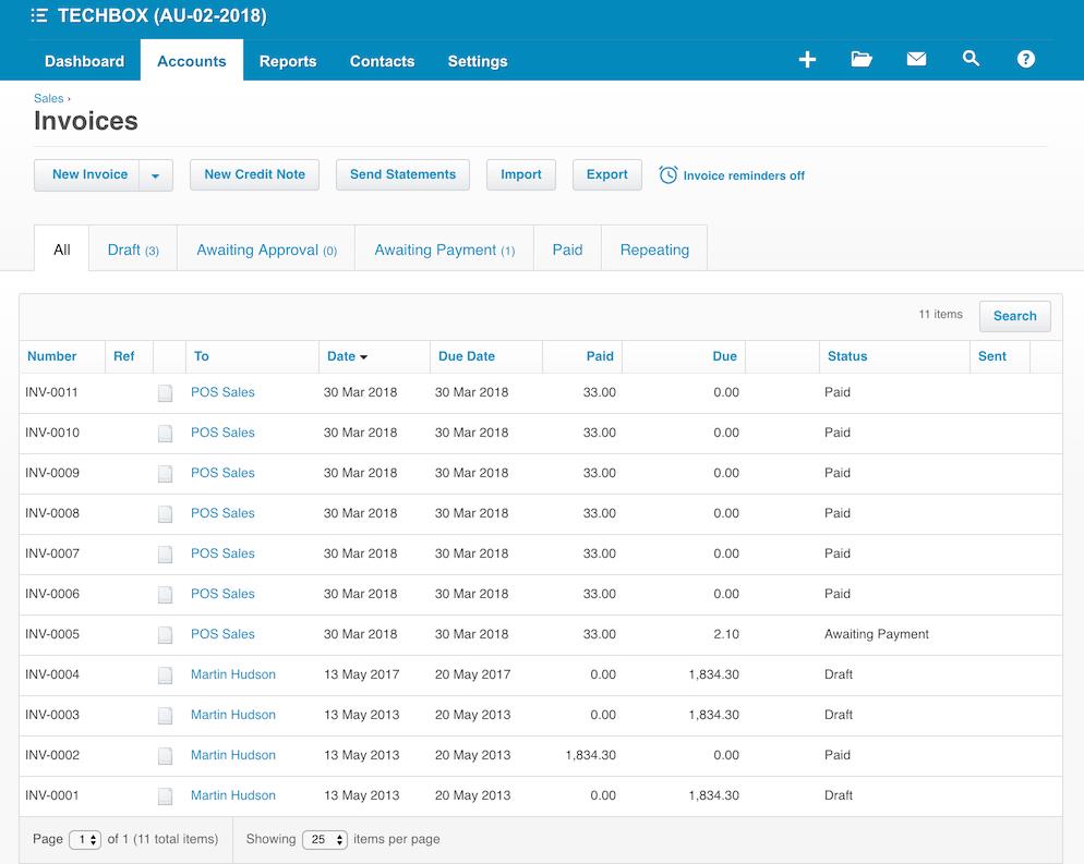 pos system xero invoices settings