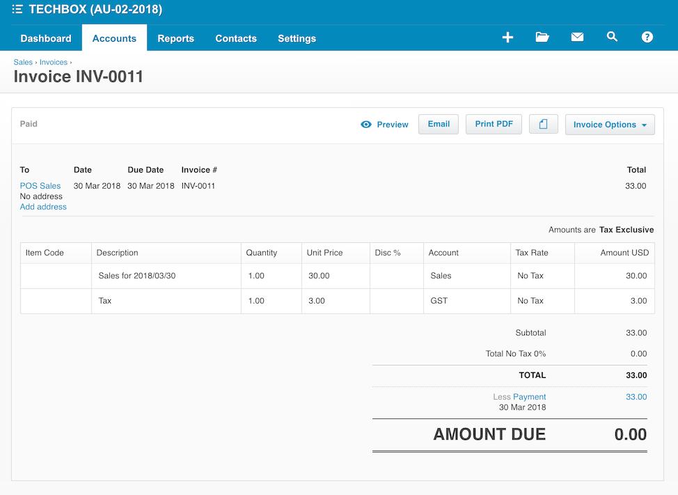 pos system xero report settings