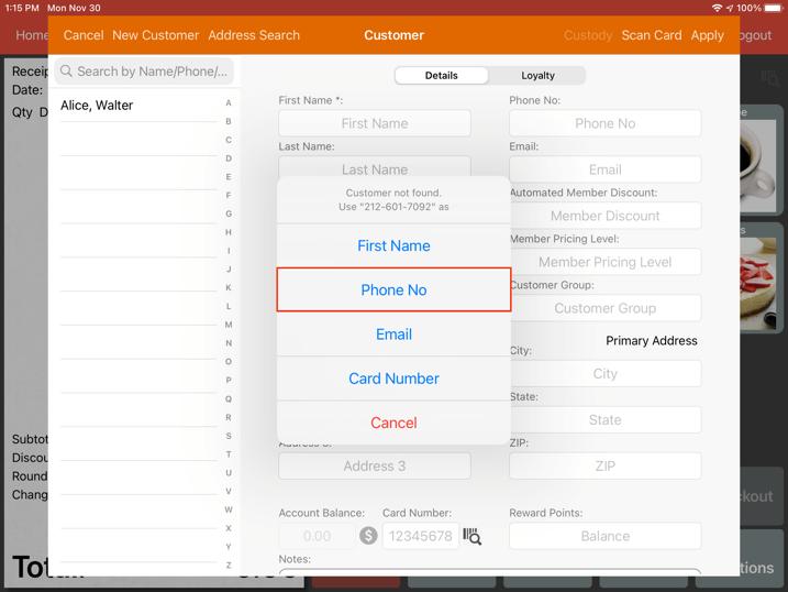mobipos customer number address name