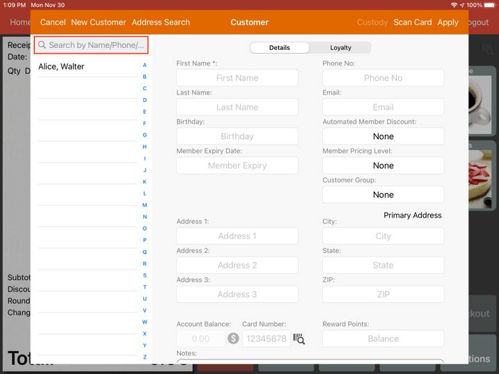 mobipos customer search