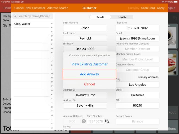 mobipos customer exist edit