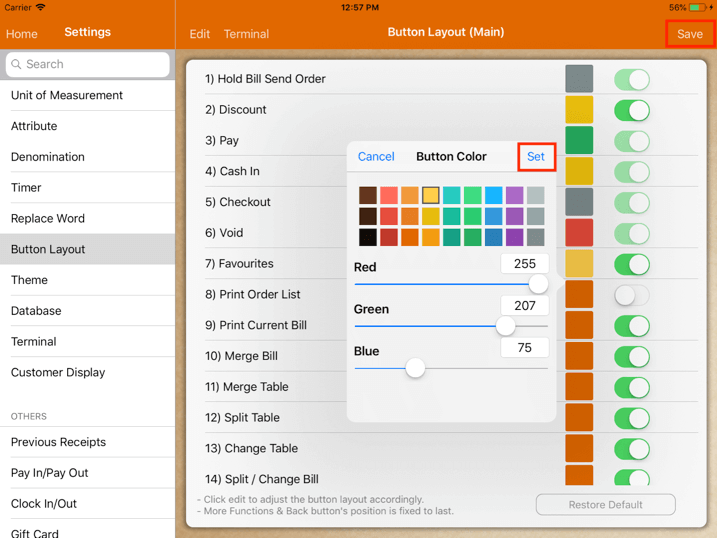 pos system button layout color change settings