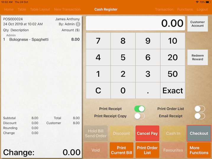 pos system customer top up payment checkout
