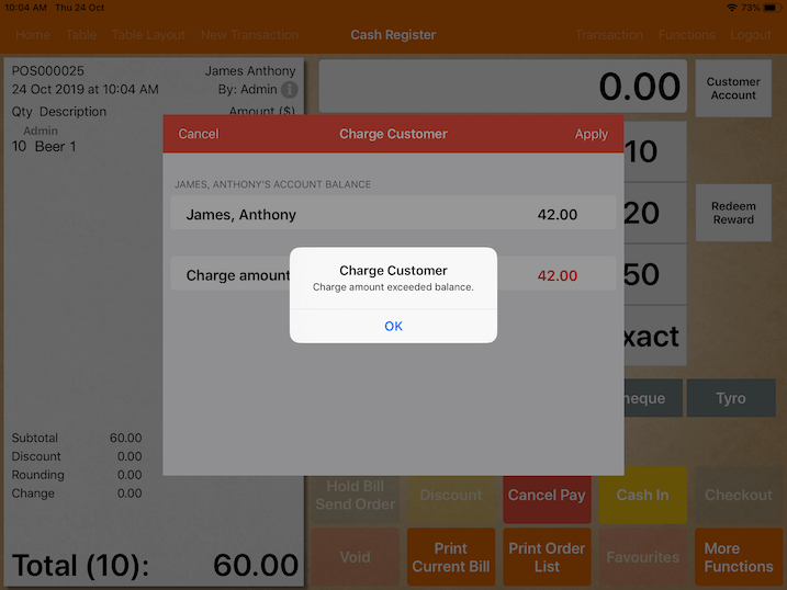 pos system customer top up credit limit exceed