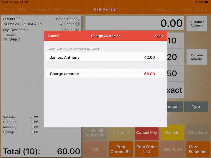 pos system credit limit on attempt to pay