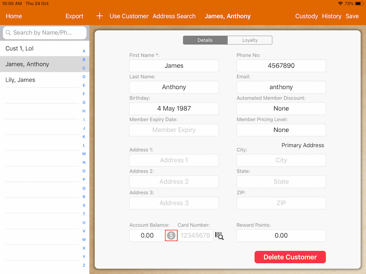 pos system customer top up profile