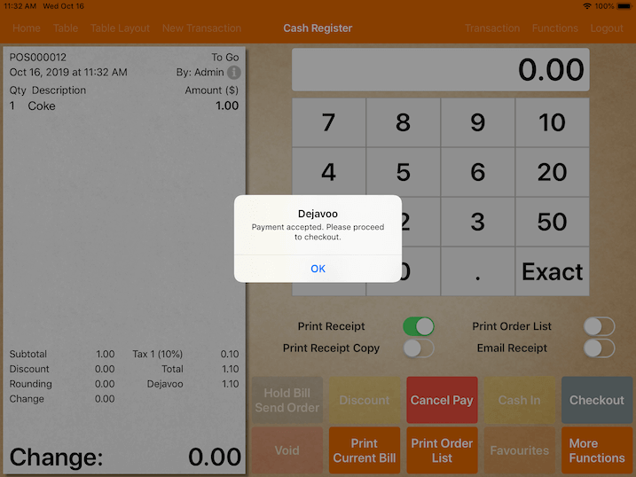 pos system dejavoo payment accepted