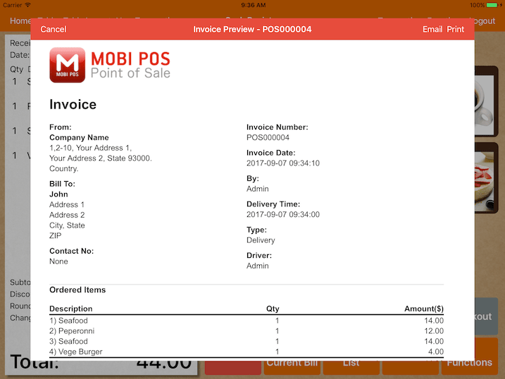 mobipos generate invoice print email