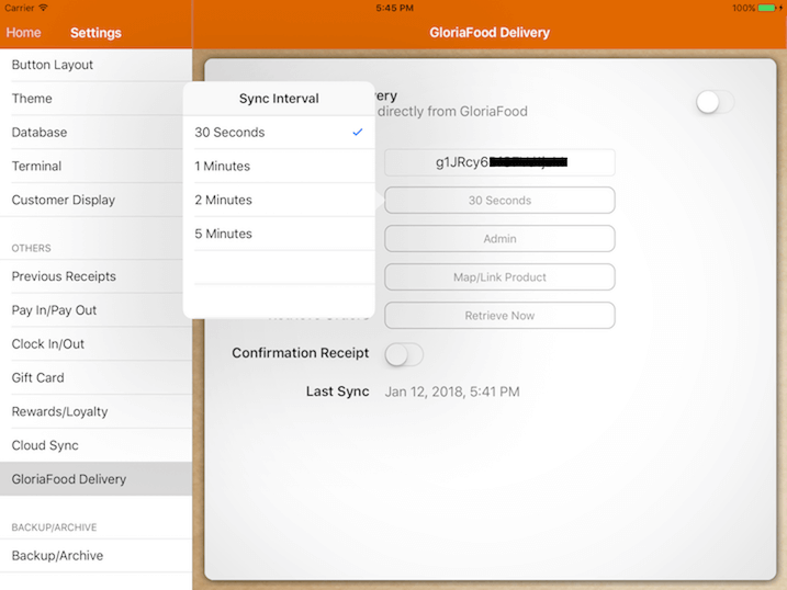 pos system GloriaFood sync interval settings