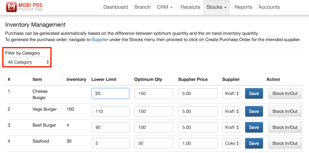 pos system inventory management settings