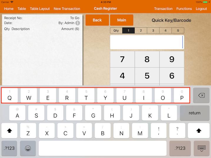 pos system ios 11 keyboard settings