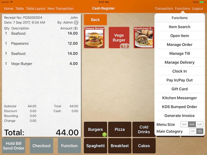 mobipos menu display category type