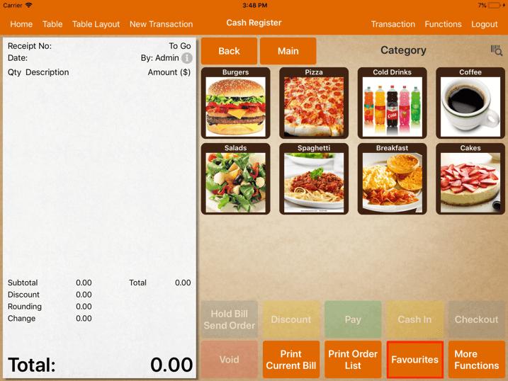 pos system                  menu gesture cash register favourite settings