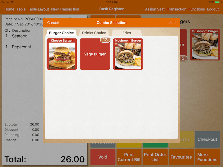 pos system ordering combo meal