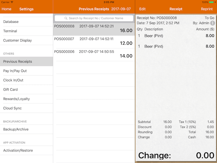 pos system previous receipts
