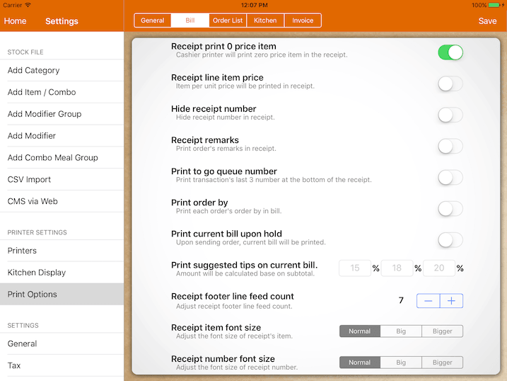 pos system bill printing option settings