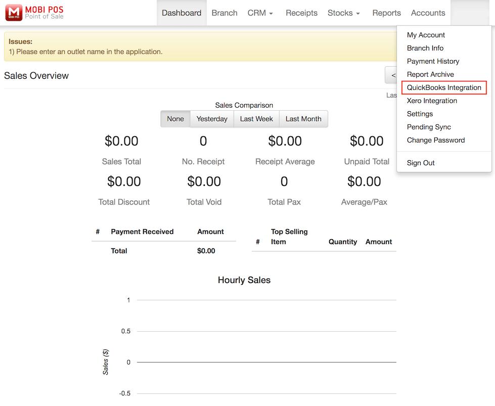 pos system homepage QuickBooks integration settings