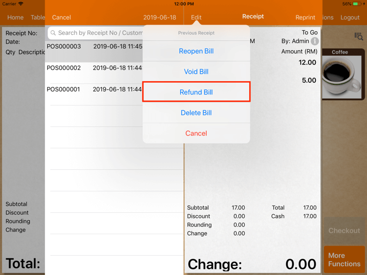 pos system                 sales refund transaction refund bill settings