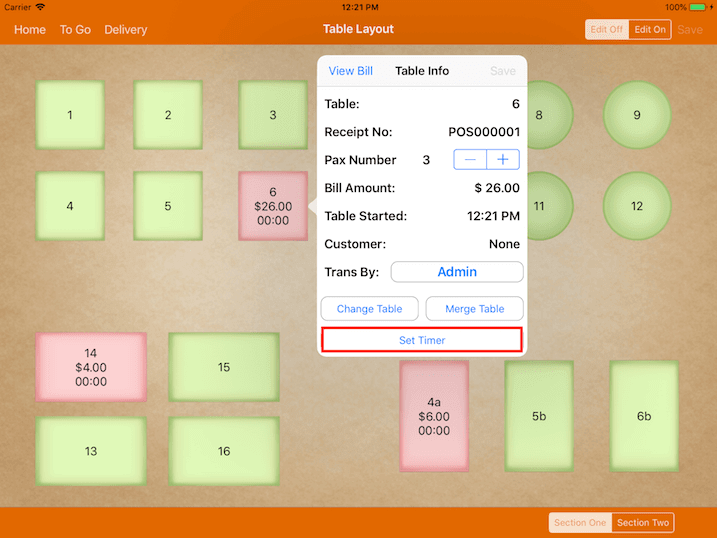 pos system table info settings