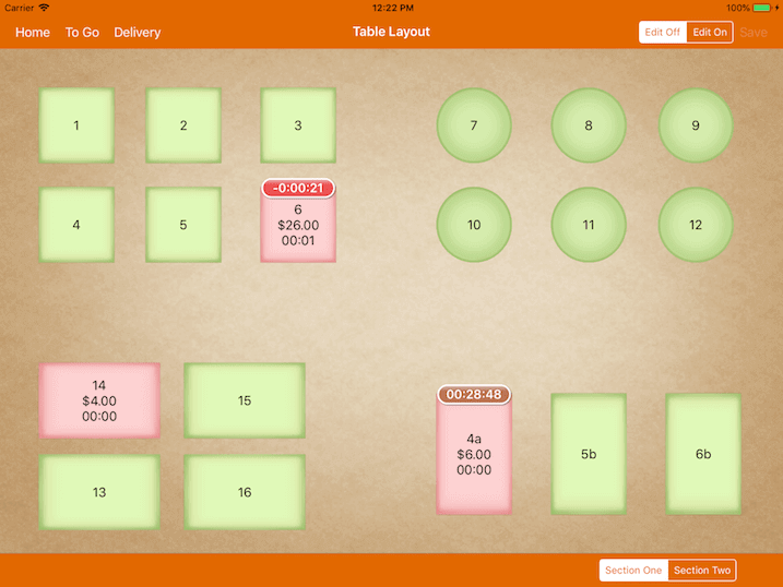 pos system table layout timer settings