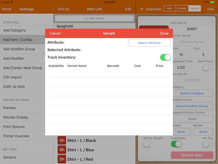 pos system variant attribute settings