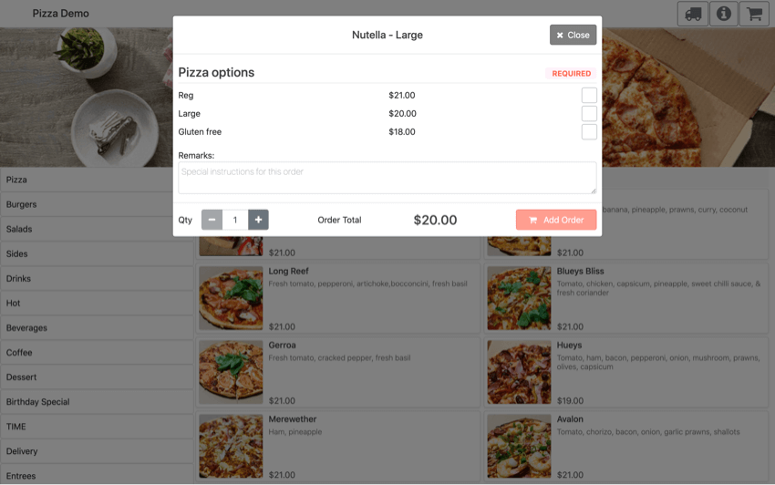 pos online ordering order modifier group