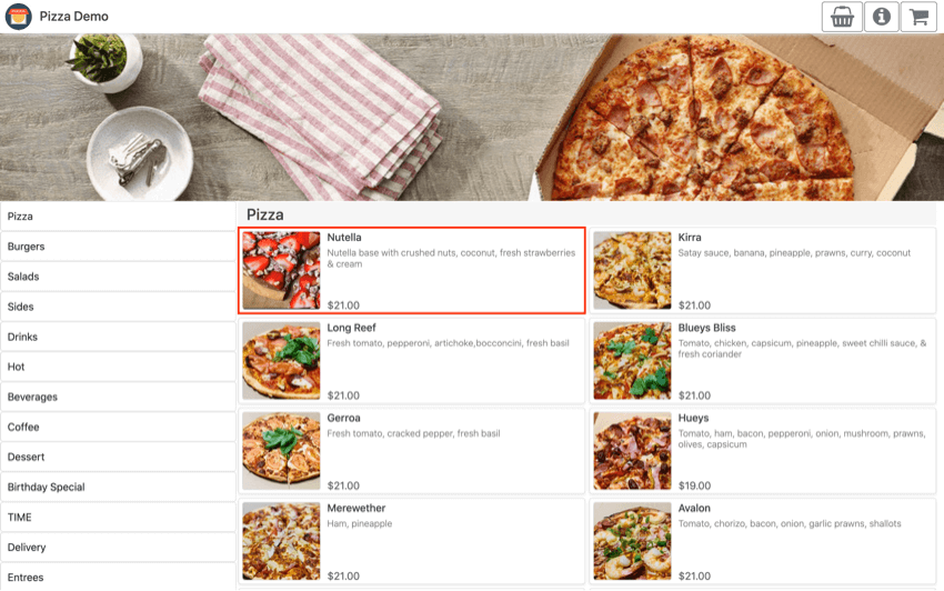 pos online ordering interface