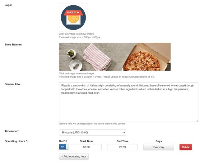pos online ordering general info settings