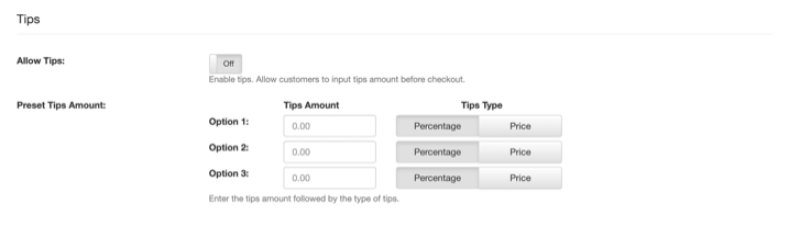 pos online ordering tips and payment settings