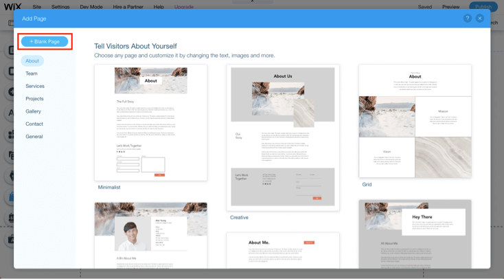 add blank page on wix