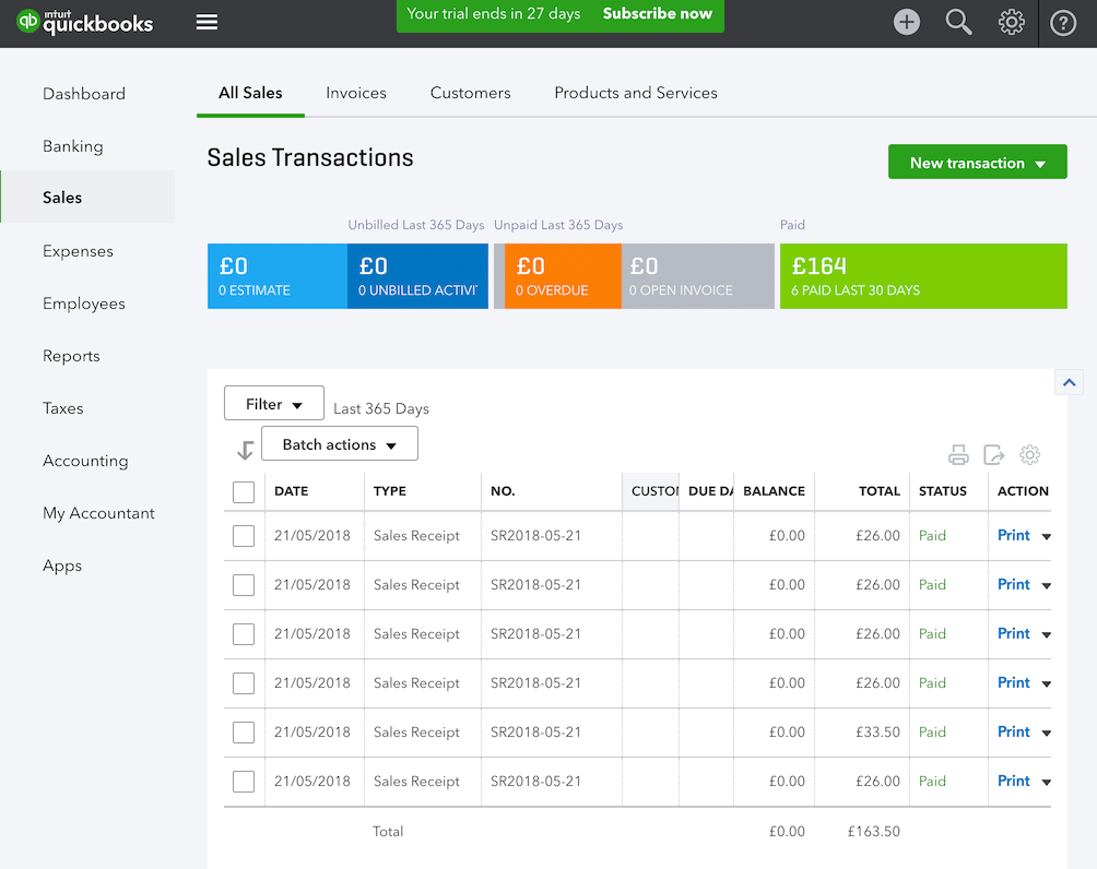pos system QuickBooks sales receipt list settings