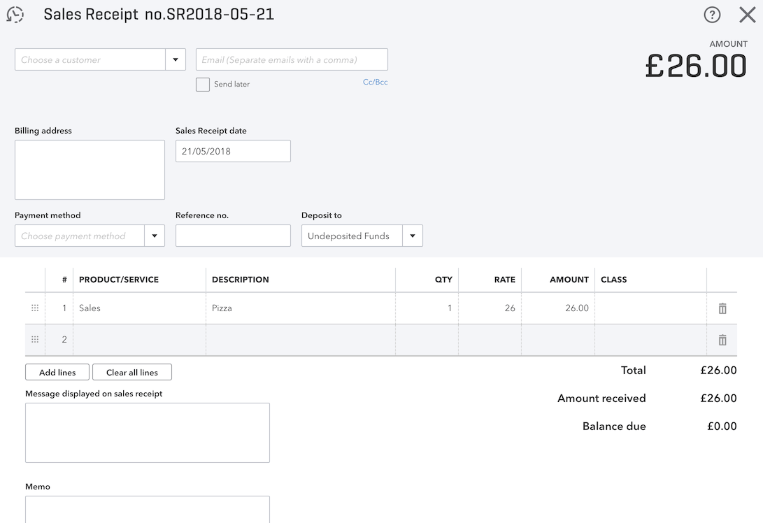 pos system QuickBooks sales receipt settings