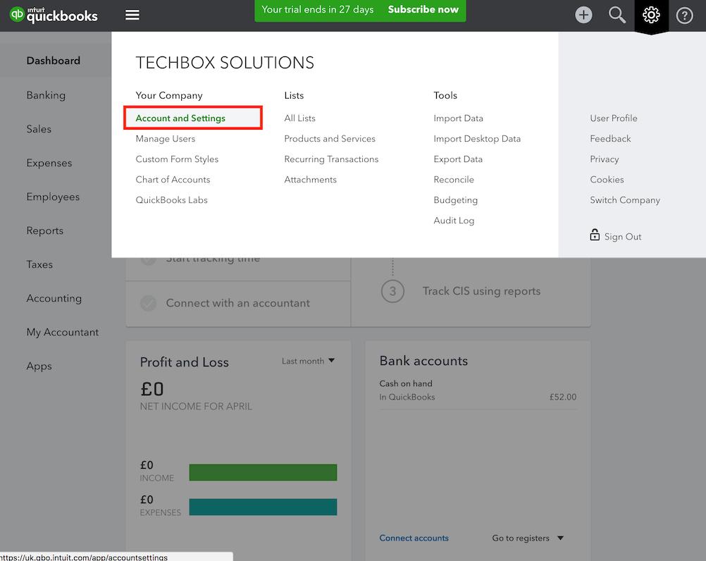 pos system QuickBooks settings